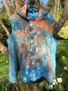 nuno felt and dyed hooded waistcoat