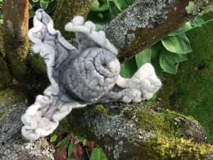 Felted Fantasy Pod on bark