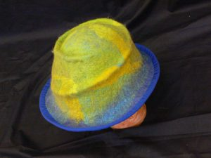 green:blue felt hat with edging